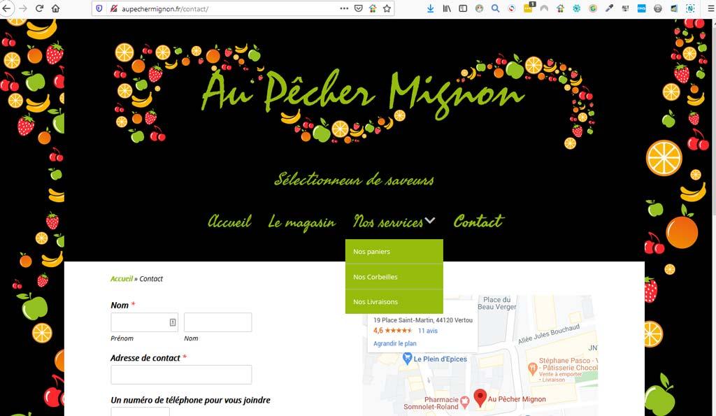 Page contact avec logo du site du primeur Au pêcher mignon