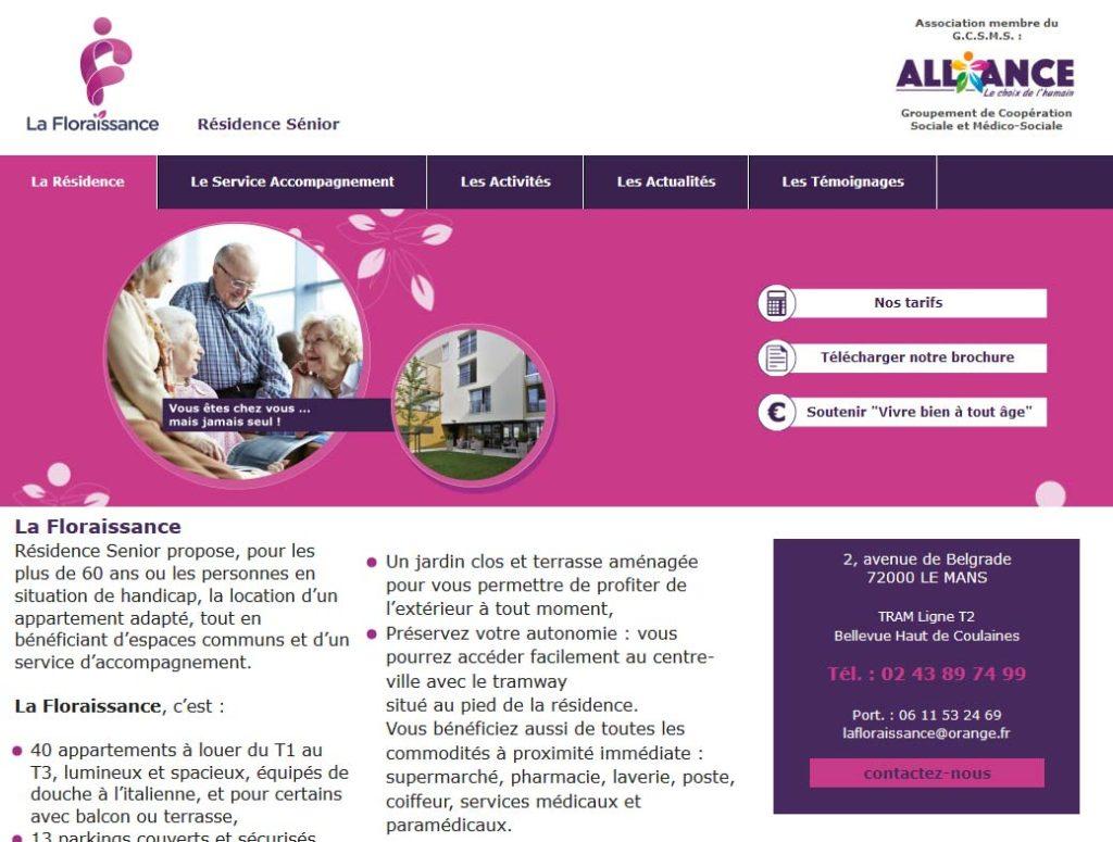 Page d'accueil de la résidence séniors La Floraissance