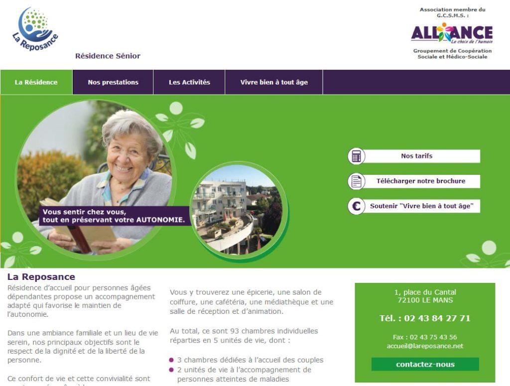 Page d'accueil de la résidence séniors La Reposance