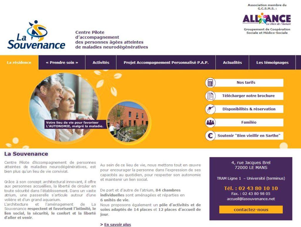 Page d'accueil de la résidence séniors La Souvenance
