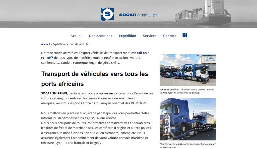 Expédistion sur le site Internet de SOCAR Shipping Lyon