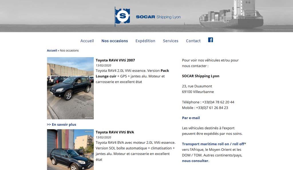 Page des annonce d'occasion sur le site WordPress de SOCAR Shipping Lyon