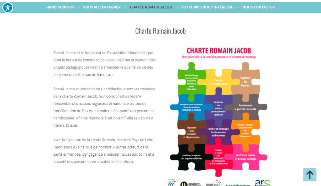 Page de la Charte Christian Jacob sur le site WordPress Handisoins 85