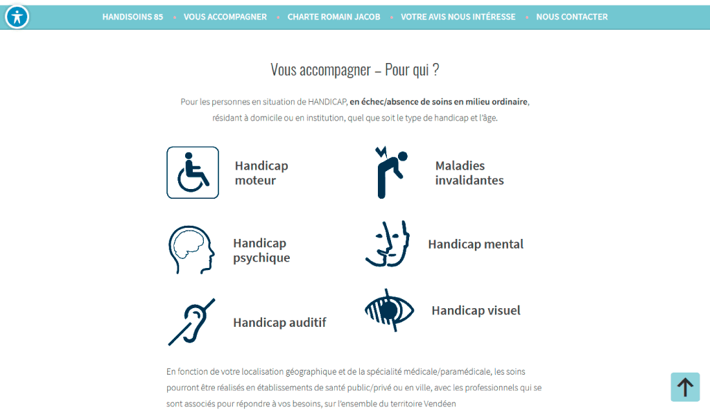 Page des handicaps pour le site WordPress Handisoins 85